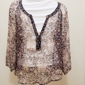 American eagle sheer floral blouse neutral xs